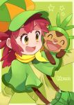 1girl bangs capelet character_name chespin commentary_request eyelashes gen_6_pokemon green_headwear green_shirt hat mairin_(pokemon) open_mouth pokemon pokemon_(anime) pokemon_(creature) pokemon_on_arm pokemon_xy_(anime) redhead sasairebun scarf shirt star_(symbol) suspenders tongue yellow_eyes yellow_scarf