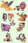 3girls 5boys ahoge allister_(pokemon) aqua_eyes bangs bea_(pokemon) beanie belt bike_shorts black_hair black_hairband blue_hair boots bow_hairband brown_eyes brown_footwear brown_hair cape chandelure charizard chewtle collared_shirt commentary_request dark_skin dark_skinned_male dreepy dynamax_band earrings eyewear_on_head fukaya_miku fur-trimmed_cape fur_trim galarian_form galarian_zigzagoon gen_1_pokemon gen_2_pokemon gen_3_pokemon gen_4_pokemon gen_5_pokemon gen_6_pokemon gen_8_pokemon gengar goomy green_eyes grey_hair grey_headwear grookey gym_leader hair_between_eyes hair_bun hairband hat highres hitmontop hoop_earrings jacket jewelry knee_pads leon_(pokemon) long_hair long_sleeves mask mr._rime multicolored_hair multiple_boys multiple_girls nessa_(pokemon) orange_hair pants piers_(pokemon) pokemon pokemon_(creature) pokemon_(game) pokemon_swsh purple_hair raihan_(pokemon) red_cape red_shirt rotom rotom_phone sandals scorbunny scraggy shirt shoes short_sleeves side_ponytail sleeves_rolled_up sobble sonia_(pokemon) starter_pokemon_trio sunglasses swept_bangs trapinch two-tone_hair victor_(pokemon) white_footwear white_jacket white_neckwear white_pants yamper