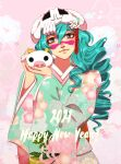 1girl 2021 absurdres alternate_costume alternate_hairstyle animal bleach blue_kimono cow drill_hair facial_mark floral_print green_hair grey_eyes hair_between_eyes happy_new_year highres holding holding_animal japanese_clothes kimono looking_at_viewer nelliel_tu_odelschwanck new_year pink_background print_kimono skull_on_head solo tsukizawr