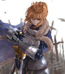 1girl armor armored_dress artoria_pendragon_(all) bangs blonde_hair braid cape crown crown_braid excalibur fate/grand_order fate_(series) faulds field_of_blades fur_trim gauntlets green_eyes hair_between_eyes hair_bun highres kdm_(ke_dama) saber standing sword weapon