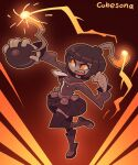 1girl artist_name bangs belt blunt_bangs bob_cut bomb boots brown_background brown_belt brown_footwear brown_hair brown_jacket brown_legwear brown_theme character_request clenched_hand commentary commission copyright_request cubesona dark_skin english_commentary glowing head_wick high_collar holding_bomb jacket leg_up lit_fuse long_sleeves looking_up miniskirt open_mouth orange_eyes outline pleated_skirt sharp_teeth short_hair signature skirt solo teeth thigh-highs upper_teeth wick zettai_ryouiki zipper zipper_pull_tab
