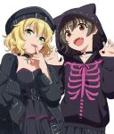 2girls akagi_miria animal_hood belt black_dress blonde_hair brown_hair cat_hood choker dress green_eyes hat hood hoodie idolmaster idolmaster_cinderella_girls idolmaster_cinderella_girls_starlight_stage jacket leather leather_jacket mattaku_mousuke multiple_girls sakurai_momoka skeleton_print skirt