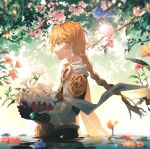 1boy aether_(genshin_impact) blonde_hair braid cape earrings flower gem genshin_impact gloves highres jewelry leaf long_hair single_braid solo tree water yellow_eyes