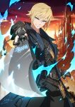 1other androgynous arm_at_side arm_up armor blonde_hair blue_eyes blue_fire breastplate castle clouds coat collared_coat commission dark.h dated earrings fictional_persona final_fantasy final_fantasy_xiv fingerless_gloves fire foreshortening gloves gun gunblade gunbreaker_(final_fantasy) holding holding_gun holding_sword holding_weapon hyur jewelry open_clothes open_coat pants scar short_hair sidelocks signature single_earring sky smirk sword trigger_discipline tsurime twilight upper_body weapon