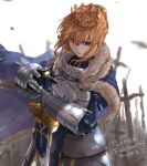 1girl absurdres armor armored_dress artoria_pendragon_(all) bangs blonde_hair braid cape capelet cloak crown crown_braid excalibur fate/grand_order fate_(series) faulds field_of_blades fur_trim gauntlets green_eyes hair_between_eyes hair_bun highres kdm_(ke_dama) saber standing sword weapon