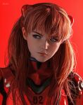 1girl artist_name bangs blue_eyes bodysuit commentary english_commentary expressionless freckles hair_ornament highres long_hair looking_to_the_side luneva_anastasiya messy_hair neon_genesis_evangelion orange_hair pilot_suit plugsuit portrait realistic red_background red_bodysuit shadow sidelighting simple_background solo souryuu_asuka_langley turtleneck two_side_up v-shaped_eyebrows