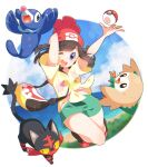 1girl absurdres beanie clouds commentary eyebrows_visible_through_hair eyelashes gen_7_pokemon green_shorts hat highres litten looking_at_viewer one_eye_closed open_mouth poke_ball poke_ball_(basic) pokemon pokemon_(creature) pokemon_(game) pokemon_sm popplio red_headwear rowlet selene_(pokemon) shirt shoes shorts sky smile starter_pokemon_trio teeth tied_shirt tongue yellow_shirt yupiteru