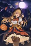 1girl belt bow cagliostro_(granblue_fantasy) dress fang frilled_dress frilled_skirt frills granblue_fantasy halloween highres holding_jack-o'-lantern hood moon newnand one_eye_closed open_mouth orange_bow salute skirt trick_or_treat two-finger_salute