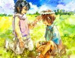 2boys athrun_zala blue_hair brown_hair child field flower_wreath green_eyes gundam gundam_seed head_wreath jtr kira_yamato male_focus multiple_boys outdoors scarf short_hair shorts sitting smile violet_eyes younger