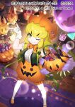 1girl blonde_hair bow bowtie candy center_frills commentary_request eyebrows_visible_through_hair food frilled_shorts frills from_above gloves green_eyes green_vest halloween halloween_basket jack-o'-lantern_(kemono_friends) kemono_friends kemono_friends_3 long_hair mary_janes official_art one_eye_closed orange_footwear orange_neckwear pantyhose puffy_short_sleeves puffy_sleeves pumpkin_hat pumpkin_pants sakanahen shirt shoes short_sleeves shorts sidelocks solo vest white_gloves white_legwear white_shirt