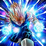 1boy blonde_hair bodysuit boots clenched_teeth commentary_request covered_abs dragon_ball dragon_ball_z energy facial_mark forehead_mark gloves glowing highres looking_at_viewer majin_vegeta male_focus muscle solo spiky_hair studio_viga teeth vegeta veins white_footwear white_gloves