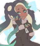 1girl aqua_hair aqua_skin black_collar black_gloves black_hair cephalopod_eyes coat collar commentary dark_skin finger_to_face fur-trimmed_coat fur_trim gloves gradient_hair green_eyes hand_in_hair hand_on_own_chest highres iida_(splatoon) light_frown long_hair long_sleeves looking_at_viewer makeup mascara mole mole_under_mouth multicolored multicolored_hair multicolored_skin octarian open_mouth pink_pupils prat_rat solo sparkle splatoon_(series) standing suction_cups tentacle_hair zipper_pull_tab