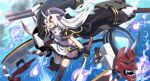 1girl azur_lane bell beret black_jacket blush commentary_request crop_top eyebrows_visible_through_hair floating_hair hair_bell hair_between_eyes hair_ornament hat highres holding holding_sword holding_weapon hololive horns jacket katana long_hair looking_away midriff mizunashi_(second_run) multicolored_hair nakiri_ayame navel ocean oni_horns oni_mask open_clothes open_jacket open_mouth purple_shirt purple_skirt red_eyes redhead rigging shirt silver_hair skirt solo sword two-tone_hair virtual_youtuber weapon