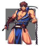 1boy abs bandages bara bare_chest belt blue_eyes brown_hair bulge castlevania chain chest cropped_legs facial_hair headband highres holding holding_weapon jacket lvlv male_focus muscle open_clothes open_jacket pelvic_curtain richter_belmont short_hair sideburns sleeveless solo stubble thick_thighs thighs torn_clothes weapon whip