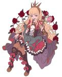 1girl blonde_hair bow brooch cagliostro_(granblue_fantasy) capelet cloak dress flower frilled_dress frilled_skirt frills granblue_fantasy headband highres holding holding_flower hori_airi jewelry long_hair open_mouth plant red_bow red_neckwear rose sitting skirt vines