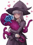 bangs blue_eyes blue_lips blunt_bangs blush closed_mouth creature eldritch_abomination eyebrows_visible_through_hair freckles grey_hair hat heart highres holding holding_creature hug open_mouth original purple_headwear simple_background sumosamo sweat tentacles tongue tongue_out white_background witch witch_hat