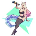 1girl ahri alcohol animal_ears bare_shoulders black_legwear blonde_hair bottle breasts champagne champagne_bottle closed_mouth facial_mark fingernails fox_ears fox_girl fox_tail garter_belt gradient gradient_hair hair_ornament hairclip highres holding holding_bottle k/da_(league_of_legends) league_of_legends lingerie long_hair lukas_klaudat multicolored multicolored_hair no_shoes pink_hair pink_nails shiny shiny_hair shiny_skin smile solo spilling tail the_baddest_ahri thigh-highs twitter_username underwear whisker_markings