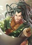 1boy black_eyes black_hair chinese_clothes fa_zheng facial_hair green_robe holding holding_scroll long_hair looking_at_viewer male_focus mustache sangokushi_puzzle_taisen scroll solo upper_body very_long_hair winter_(winter168883)