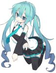 1girl @_@ absurdres aqua_hair aqua_neckwear bare_shoulders black_legwear black_skirt black_sleeves blue_eyes collarbone commentary crossed_arms crying crying_with_eyes_open detached_sleeves frown full_body furrowed_eyebrows happy_cream hatsune_miku highres legs_up light_blush long_hair miniskirt necktie pleated_skirt shirt skirt sleeveless sleeveless_shirt solo tears thigh-highs twintails very_long_hair vocaloid white_background white_shirt zettai_ryouiki