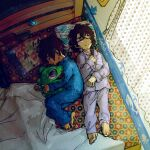 2boys athrun_zala barefoot bed blanket blue_hair brown_hair child closed_eyes gundam gundam_seed holding holding_stuffed_toy kira_yamato lying multiple_boys object_hug pajamas short_hair stuffed_toy