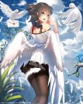 1girl angel angel_wings bare_shoulders bird branch clouds dress fern green_eyes hands_together highres leg_warmers letter lipstick looking_at_viewer looking_back makeup open_mouth original pleated_skirt scenery skirt sky vierzeck water white_dress wings