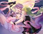 2girls alina_gray bare_shoulders black_headwear black_shirt black_wristband boyano character_request garter_straps green_eyes green_hair hat holding holding_clothes holding_hat japanese_clothes long_hair magia_record:_mahou_shoujo_madoka_magica_gaiden mahou_shoujo_madoka_magica medium_hair moon multicolored multicolored_clothes multicolored_skirt multiple_girls open_mouth puffy_short_sleeves puffy_sleeves purple_hair see-through_sleeves shirt short_sleeves skirt smile thigh-highs violet_eyes