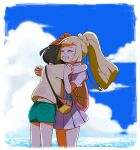 2girls bag beanie black_hair blonde_hair braid clenched_teeth closed_eyes clouds commentary_request crying dated day eyelashes green_shorts hat highres hug lillie_(pokemon) long_hair multiple_girls oh_juun outdoors pleated_skirt pokemon pokemon_(game) pokemon_sm ponytail red_headwear selene_(pokemon) shirt short_sleeves shorts shoulder_bag skirt sky tears teeth