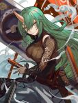1girl arknights bangs black_shirt breasts commentary eyebrows_visible_through_hair green_hair grey_eyes hair_between_eyes highres horns hoshiguma_(arknights) large_breasts long_hair long_sleeves looking_at_viewer pouch shirt single_horn smile smoke solo spica_(spica_1510) very_long_hair