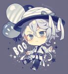 1boy alternate_costume azul_ashengrotto balloon blue_eyes candy chibi collared_shirt food glasses halloween_costume hat long_sleeves looking_at_viewer male_focus mole mole_under_mouth mummy_costume official_alternate_costume ribbon shirt silver_hair solo twisted_wonderland white_shirt yumenouchi_chiharu