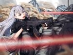 1girl absurdres ak-alfa assault_rifle black_gloves brown_eyes energy_beam firing girls_frontline gloves gun hair_between_eyes hairband highres holding holding_gun holding_weapon huge_filesize jacket long_hair mountainous_horizon open_mouth partially_fingerless_gloves reflex_sight rifle siki10ga silver_hair trench very_long_hair weapon