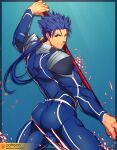 1boy armor ass bara blue_bodysuit blue_hair bodysuit cropped_legs cu_chulainn_(fate)_(all) earrings fate/grand_order fate/stay_night fate_(series) fighting_stance from_behind gae_bolg highres holding holding_weapon jewelry lancer long_hair lvlv male_focus muscle patreon_username polearm ponytail red_eyes shoulder_armor sideburns solo spaulders spear thick_thighs thighs weapon