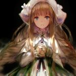 1girl black_background blue_eyes blurry braid capelet dress forever_7th_capital frown green_dress hanchan highres light_brown_hair long_sleeves looking_at_viewer sidelocks simple_background solo twin_braids upper_body white_capelet white_headwear