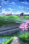 absurdres bird blue_sky cherry_blossoms clouds fence grass ground_vehicle guard_rail highres motor_vehicle no_humans original power_lines scenery sidewalk sky truck vierzeck water