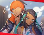 1boy 1girl aqua_eyes aqua_hair bandana bare_shoulders black_hair blue_gloves blurry blurry_background dark_skin ear_piercing earrings fang gloves grey_eyes gym_leader hair_bobbles hair_ornament hoop_earrings jewelry long_hair looking_at_viewer multicolored_hair namakawa nessa_(pokemon) one_eye_closed pendant picture_(object) piercing pokemon pokemon_(game) pokemon_swsh pose raihan_(pokemon) single_glove sparkle thumbs_up two-tone_hair wristband