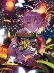 1girl absurdres aerial_fireworks blue_eyes blush festival fireworks flower green_tea hair_flower hair_ornament hair_ribbon highres holding holding_flower japanese_clothes kimono one_eye_closed pink_hair pink_kimono red_ribbon ribbon smile summer_festival tea uchiage_hanabi_shita_kara_miru_ka?_yoko_kara_miru_ka? vierzeck yukata