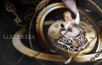 1girl absurdres angel angel_wings bandages blonde_hair blue_eyes chain clock clock_hands clockwork cuffs english_text feathered_wings feathers gears highres key l4timeria original restrained roman_numerals winding_key wings