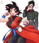 ... 1boy 1girl :d adjusting_eyewear black_bodysuit black_hair blue_sash blush bodysuit buttons coat dragon_ball dragon_ball_heroes food genderswap genderswap_(mtf) glasses japanese_clothes kimono mature mother_and_son nose_blush nyoibo open_mouth red_kimono sash smile son_gohan son_gohan_(xeno) son_gokuu son_gokuu_(xeno) speech_bubble spoken_ellipsis sweatdrop teba_makoto