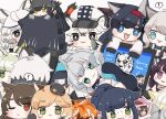! 1other 4boys 6+girls :3 :d aak_(arknights) ambiguous_gender animal_ear_fluff animal_ears animal_nose annotated arknights bangs black_cape black_footwear black_gloves black_hair black_headwear black_jacket black_shirt blaze_(arknights) blonde_hair blue_eyes boots braid broca_(arknights) brown_background brown_hair cabbie_hat cameo cape cat_ears chibi chibi_on_head cliffheart_(arknights) closed_mouth colored_eyelashes commentary computer cup doctor_(arknights) english_text error_message eyebrows_visible_through_hair fang flower folinic_(arknights) fur-trimmed_cape fur_trim furry gloves green_eyes green_hair grey_eyes grey_gloves grey_hair hair_flower hair_ornament hairband hat haze_(arknights) hood hood_up hooded_jacket indra_(arknights) jacket jessica_(arknights) kal'tsit_(arknights) laptop leopard_ears long_hair lying melantha_(arknights) minigirl mint_(arknights) mountain_(arknights) mousse_(arknights) mug multicolored_hair multiple_boys multiple_girls nightmare_(arknights) on_head on_side one_eye_closed open_clothes open_jacket open_mouth orange_hair out_of_frame parted_lips paw_gloves paws phantom_(arknights) ponytail pramanix_(arknights) purple_hair red_hairband redhead rosmontis_(arknights) schwarz_(arknights) shirt shoe_soles silverash_(arknights) simple_background skyfire_(arknights) smile someyaya spoken_exclamation_mark streaked_hair sweat swire_(arknights) thick_eyebrows too_many very_long_hair violet_eyes waai_fu_(arknights) white_eyes white_hair white_headwear white_jacket white_shirt witch_hat yellow_eyes