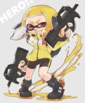 1girl ankle_boots bangs bike_shorts black_footwear black_legwear black_shorts blonde_hair blunt_bangs boots bullpup coat commentary_request domino_mask dual_wielding english_text gradient_hair grey_background grin gun headgear highres holding ink_tank_(splatoon) inkling long_sleeves looking_at_viewer mask medium_hair multicolored_hair orange_hair p90 paint_splatter prat_rat red_eyes shorts single_vertical_stripe smile socks solo splatoon_(series) splatoon_2 squidbeak_splatoon standing submachine_gun tentacle_hair weapon yellow_coat