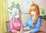 2girls absurdres ahoge bangs blonde_hair blue_eyes blue_sweater blush braid braided_ponytail calendar_(object) claire_eikaiwa claire_sensei collared_shirt green_eyes hair_ornament highres indie_virtual_youtuber jacket long_hair marimo_(marimo2468) multiple_girls open_mouth pen plant potted_plant shirt short_braid side_braid silver_hair sitting smile sparkling_eyes sweater vei_(vtuber) virtual_youtuber watch watch white_shirt x_hair_ornament