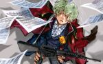 1boy assault_rifle bow bowtie brown_eyes gun gundam gundam_seed holding holding_gun holding_weapon jtr nicol_amafli open_mouth rifle sheet_music short_hair solo tears weapon