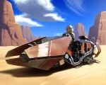 1girl cliff clouds commentary day desert guitar_case holographic_interface instrument_case maku_ro original outdoors red_eyes science_fiction short_hair silver_hair sitting sky solo vehicle