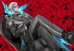 1boy bug butterfly chair crossed_legs facial_hair fate/grand_order fate_(series) formal glasses gloves grey_hair insect izura_mari james_moriarty_(fate/grand_order) leather long_sleeves male_focus mustache partially_colored shoes short_hair spot_color