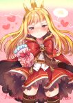 1girl blonde_hair blush bow brooch cagliostro_(granblue_fantasy) capelet chocolate cloak dress food frilled_dress frilled_skirt frills frown granblue_fantasy headband heart holding holding_chocolate holding_food ichihaya jewelry long_hair looking_at_viewer red_bow scribble skirt yellow_eyes