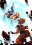 2boys blonde_hair bodysuit boots clenched_hand commentary_request dragon_ball dragon_ball_z energy eye_contact facial_mark forehead_mark halo highres kneeling looking_at_another majin_vegeta male_focus multiple_boys muscle open_mouth sash son_gokuu spiky_hair spread_fingers studio_viga super_saiyan super_saiyan_1 teeth tongue vegeta white_footwear