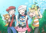 1girl 2boys artist_name ayakadegozans barry_(pokemon) beanie black_hair chimchar closed_eyes clouds commentary_request dawn_(pokemon) day eyelashes fire flame gen_4_pokemon green_scarf hair_ornament hairclip hat highres holding holding_pokemon leaves_in_wind lucas_(pokemon) multiple_boys on_head open_mouth outdoors pants piplup pokemon pokemon_(creature) pokemon_(game) pokemon_dppt pokemon_on_head red_headwear red_scarf scarf short_sleeves sky smile starter_pokemon_trio teeth tongue tree turtwig watermark white_headwear