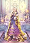 1boy altar archbishop_(ragnarok_online) bangs belt_buckle buckle candle candlestand cape carpet cassock church closed_mouth commentary_request cross cross_necklace expressionless fairy fire fur-trimmed_cape fur_trim gloves gradient_clothes hair_between_eyes hair_over_one_eye halo head_wings jewelry long_sleeves looking_down misuguu necklace open_mouth pants purple_gloves ragnarok_online shoes short_hair solo sparkle stairs standing violet_eyes white_footwear white_hair white_pants wide_sleeves window yellow_cape