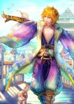 1boy architecture artist_name bangs bare_chest bird blonde_hair blue_kimono boots bridge brown_footwear calico cat choker clouds commentary_request cross-laced_legwear east_asian_architecture eyebrows_visible_through_hair eyes_visible_through_hair fang floral_print flower full_body gauntlets gloves hair_between_eyes iridescent jacket japanese_clothes kagerou_(ragnarok_online) kimono long_sleeves looking_at_animal lotus male_focus misuguu mole mole_under_eye open_mouth orange_eyes outstretched_arm pantaloons pants partially_fingerless_gloves purple_pants ragnarok_online ribbon sash short_hair signature sky solo t-pose tarou_(ragnarok_online) walking white_jacket wide_sleeves