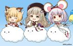 3girls :3 :d :o ;d animal animal_ears balloon bangs bare_shoulders blonde_hair blue_background blush bow braid brown_dress brown_eyes brown_hair brown_headwear chibi closed_eyes closed_mouth clouds commentary_request detached_sleeves dog_ears dress erune eyebrows_visible_through_hair fang gradient gradient_background granblue_fantasy green_eyes grey_hair hair_bow hair_ornament hairclip hands_up hat heart heterochromia holding holding_balloon long_hair long_sleeves looking_at_viewer miicha mouse_ears multiple_girls notice_lines one_eye_closed open_mouth outstretched_arm parted_lips pholia red_bow red_eyes shirt short_eyebrows sleeveless sleeveless_dress sleeveless_shirt sleeves_past_wrists smile solid_circle_eyes striped striped_bow sweat thick_eyebrows twitter_username upper_teeth v-shaped_eyebrows vajra_(granblue_fantasy) very_long_hair vikala_(granblue_fantasy) white_shirt white_sleeves white_wolf wide_sleeves wolf