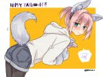 1girl animal_ears black_legwear blue_eyes commentary_request cowboy_shot hood hooded_sweater hoodie kantai_collection leaning_forward official_alternate_costume pink_hair ponytail r-king shiranui_(kantai_collection) short_hair solo spoken_squiggle squiggle sweater tail twitter_username two-tone_background white_sweater wolf_ears wolf_tail yellow_background